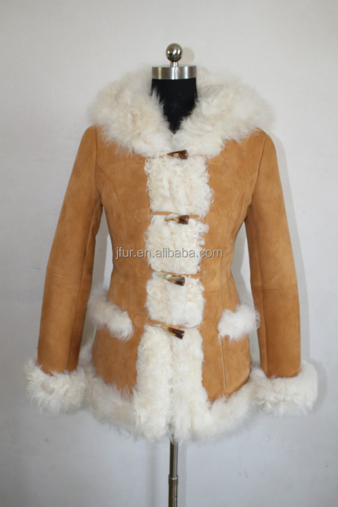 Double Face Lamb Skin Short Fur Jacket/Real Lamb Fur Coat winter Women