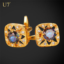 U7 Gold plated cuff links , high quality crystal Rhinestone diamond cufflinks for men