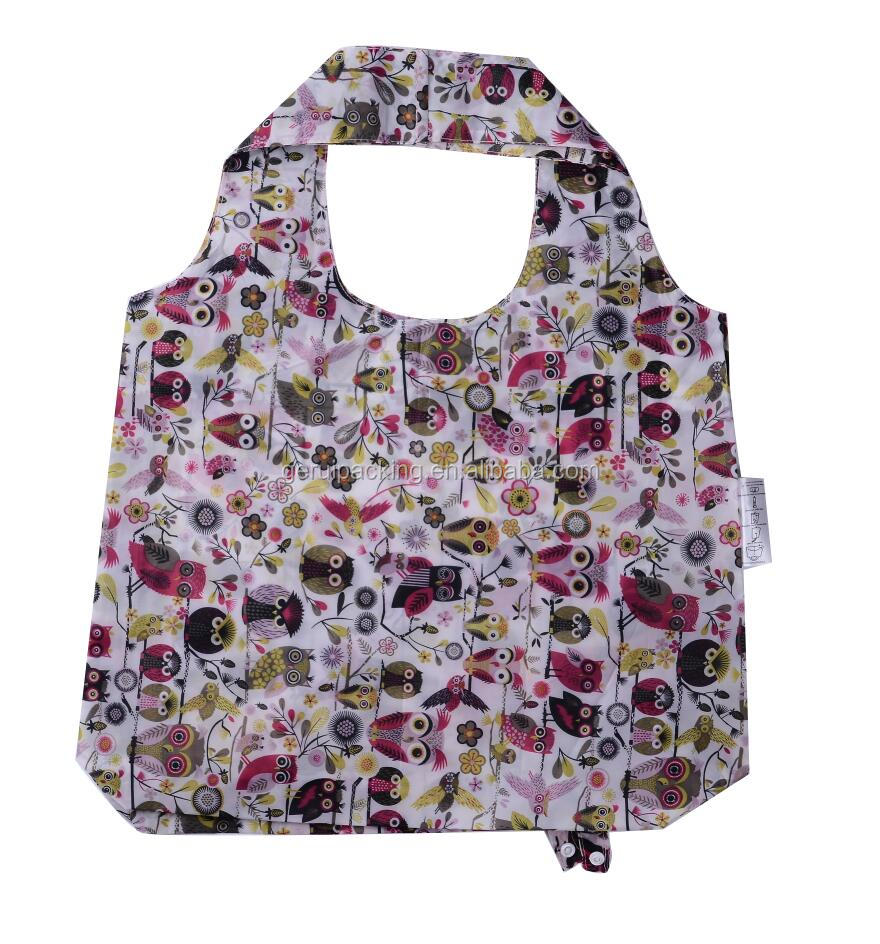 cheap rusable durable pattern printed owl shape foldable polyester shopping bag
