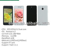 MTK 6572 dual core os android 4.2 wholesales 4.0 inch LCD 480*800 phone