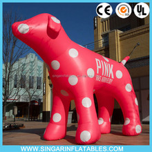 Pink cute outdoor inflatable dog decoration, giant inflatable dog balloon for shop