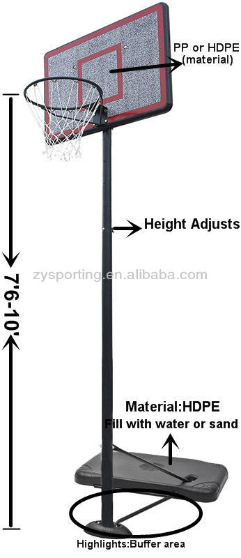 ZY 44'' PP Backboard Basketball Goals