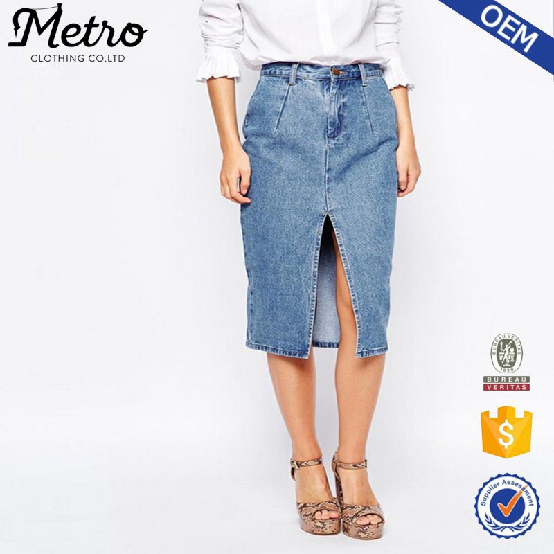 Women Wholesale Front Slit Denim Skirt