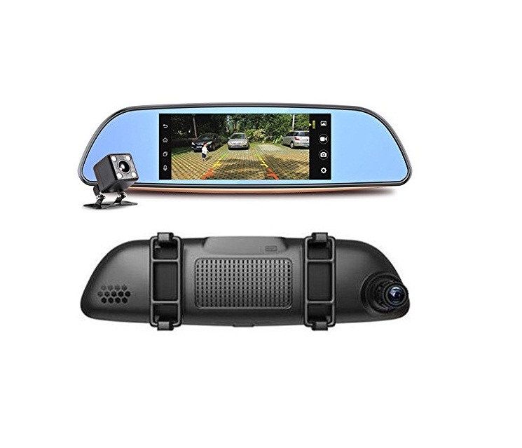 "Hot Selling Android 7""Touch Screen 3G Car GPS Navigation 1080P Dual Lens Rearview Mirror Dash Cam"