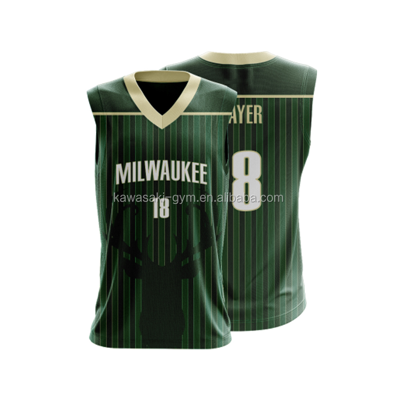 6XL usa latest basketball jersey design color green pattern top wholesale
