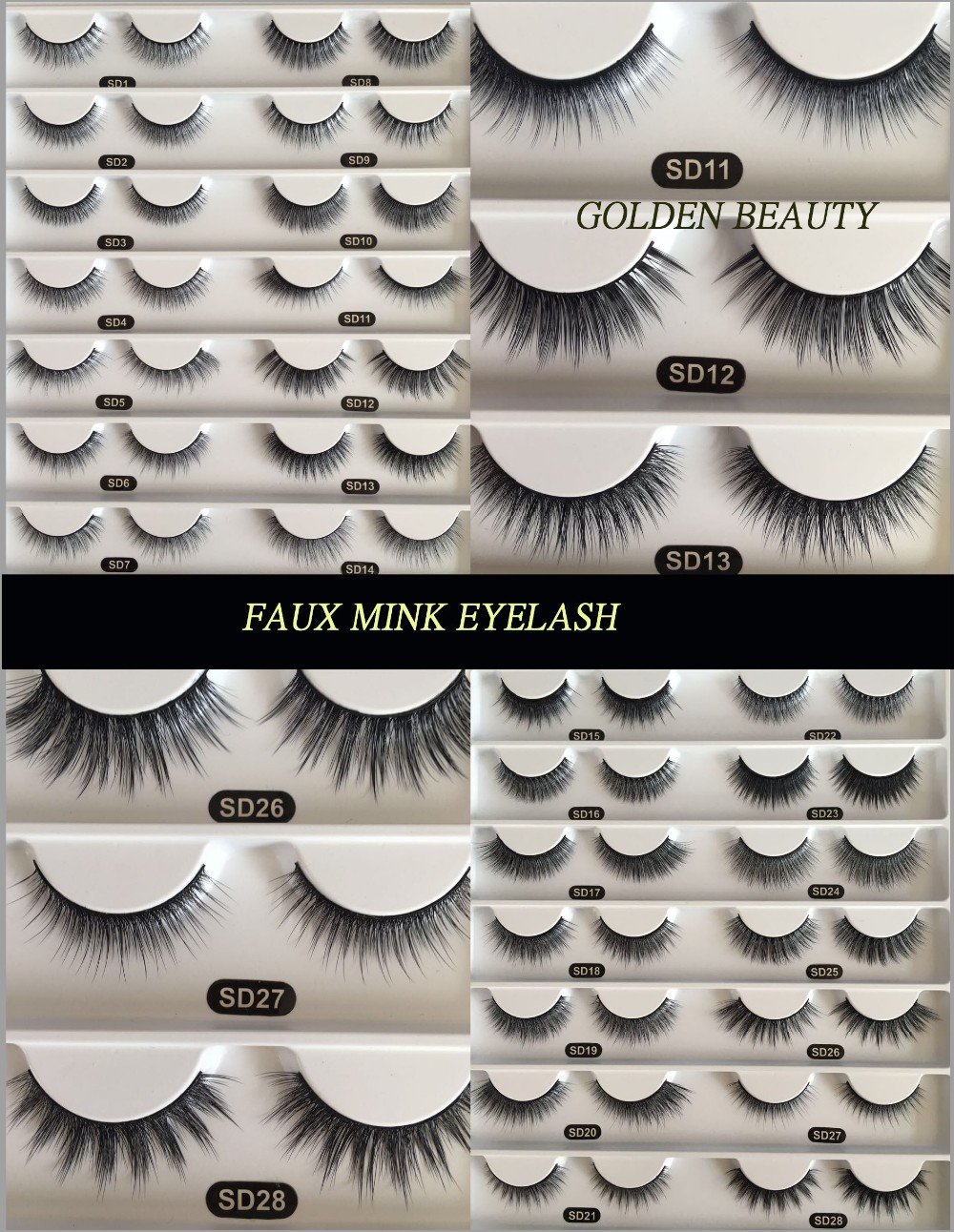 Premium 3d faux mink lashes mimic 100% handmade real mink fur long false eyelashes