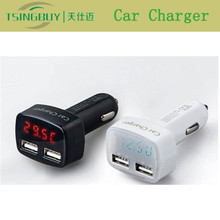 Factory price portable double USB ports laptop car charger with voltage current temperature detection