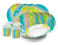 Melamine Dinner Set - RainbowStripes - 16 Pcs