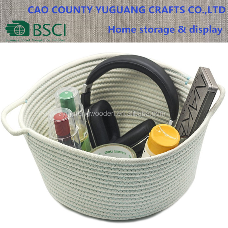 Cotton Rope Round Organizer Storage Basket with Handle