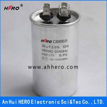 China HERO great CBB65 450VAC 20uF 50/60Hz Ultra oil filled air conditioner capacitor
