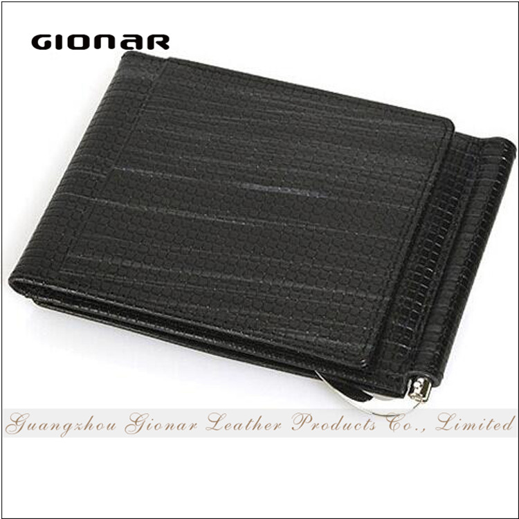 Chic Design Good Quality Embossed PU Leather Trifold Money Clip Wallet for Men