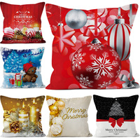 Christmas Pillow Case,Beautyvan Christmas Linen Square Throw Flax Pillow Case Decorative Cushion Pillow Cover