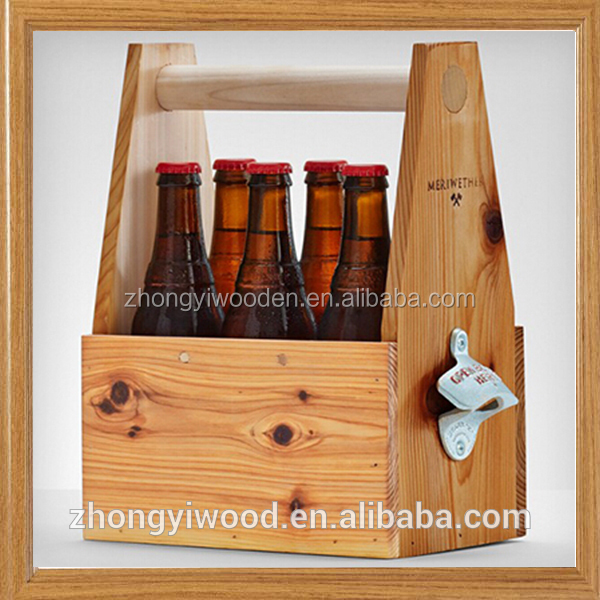 china factory FSC handle wooden 6 pack beer liquor bottle tray tote carrier with bottle opener