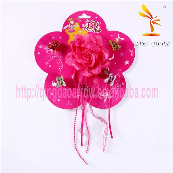 Big Red Flower Sparkle Butterfly Plastic Hair Claw Clip
