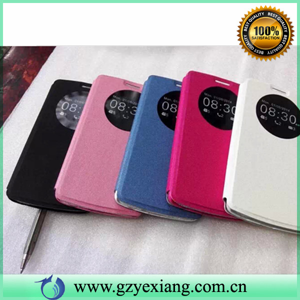 China factory supplier leather case for LG G3 case with circle view
