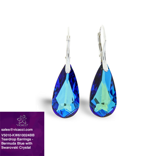 Alibaba Express Wholesale 925 Fashionable Jewelry Light Teardrop Earrings with Crystals from SWAROVSKI