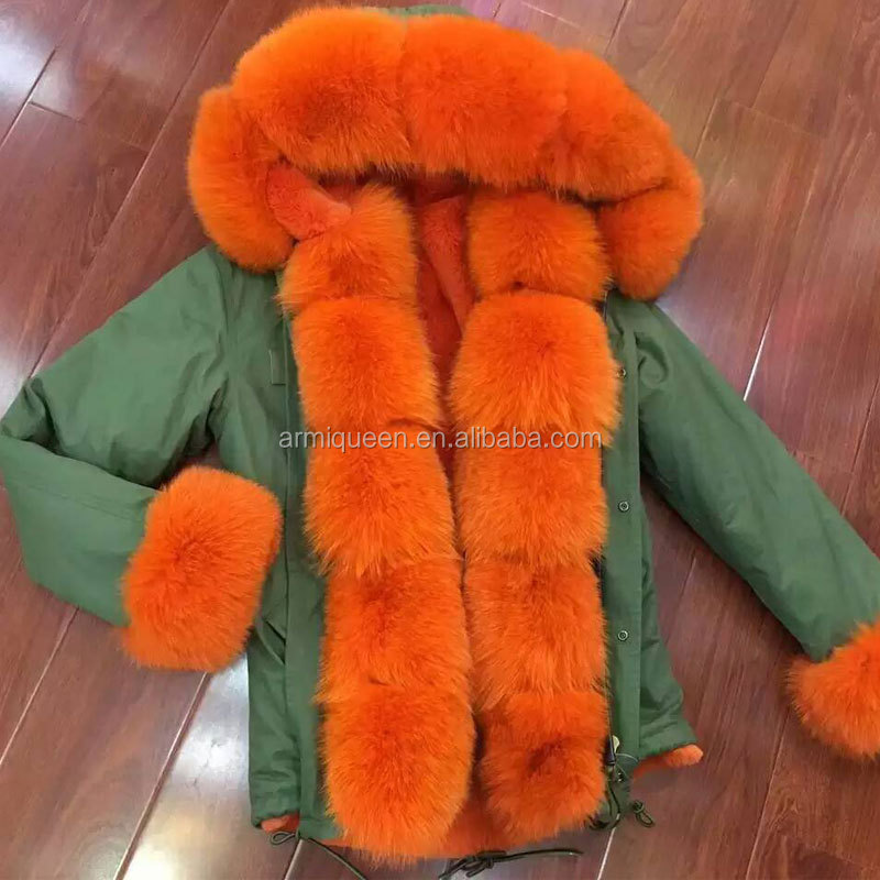 Fashion orange new style coats removable sleeve / hood/ collar with fuax fur short parka jacket