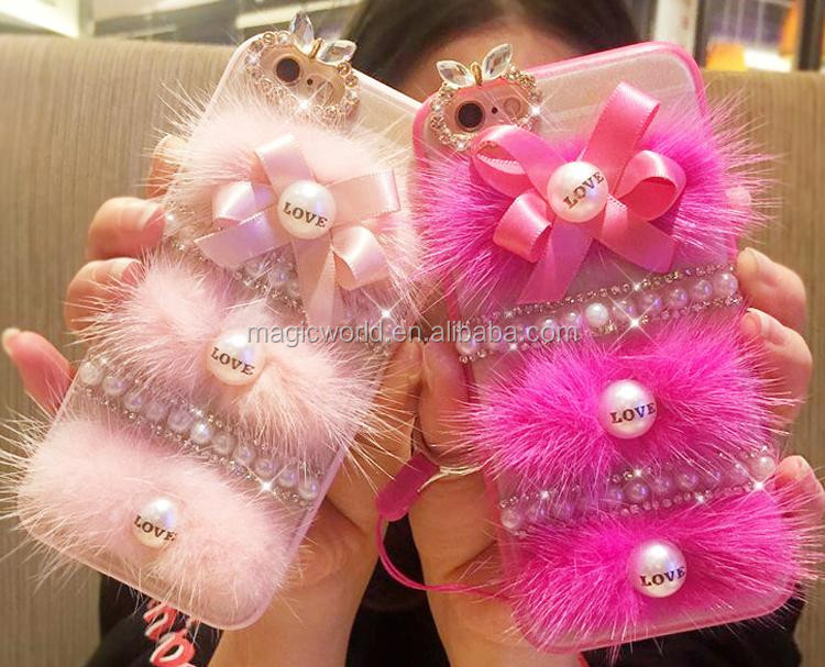 Cute Fluffy Hairy Pink Ribbon Phone Case For iPhone 7 7Plus