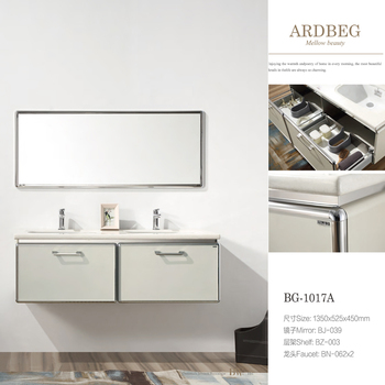 Stainless Steel Bathroom Cabinet with double ceramic basin and drawer