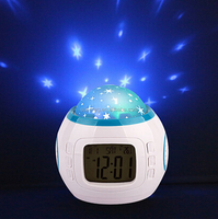 Music star Kid Baby Room Bedroom Music Alarm Clock Sky Star Night Light Projector Lamp