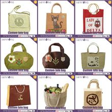 Jute Wine Tote Bag Natural Jute Bags With Wooden Handle
