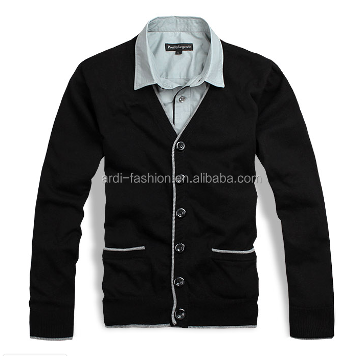 trendy design V neck contrasted trims mens fake shirt collar sweater