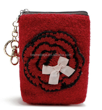 Lovely Woolen Yarn Rose Coin Purse with Key Ring Chain