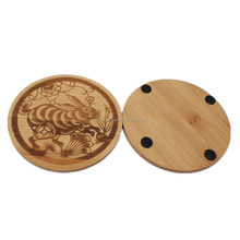 wholesale engraved bamboo trivet, hot pot mat with rubber feet