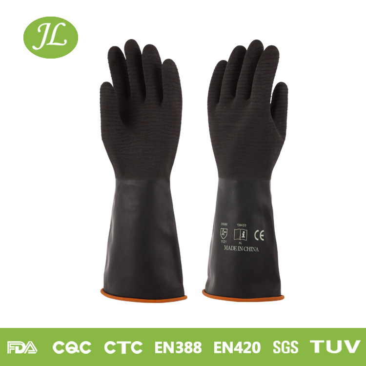 2017 Factory chemical resistant black 320mm-350mm heavy duty gloves