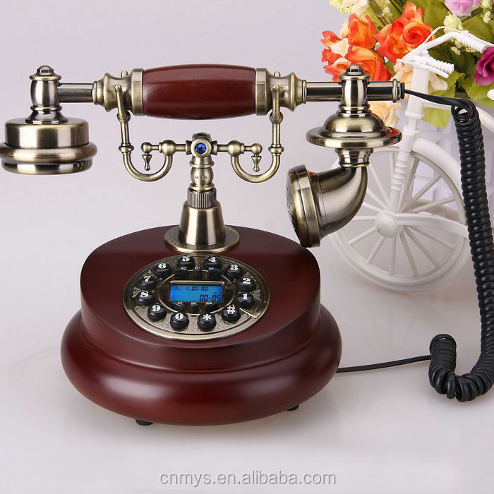 European ancient antique solid wood telephone, telephone portable