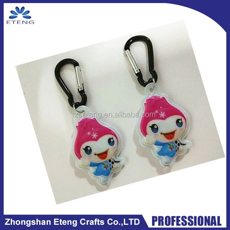 New arrival custom shaped safety reflective PVC charm keychain