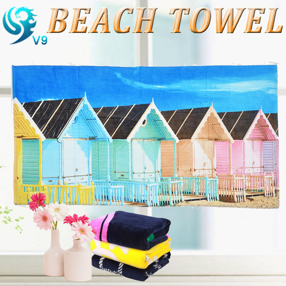 factory price velour custom house printing 75x150cm microfiber towel
