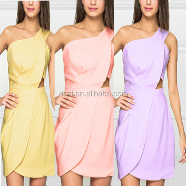 China OEM Factory Cheap Yellow Chiffon Bridesmaid Prom Party Dresses Short One Shoulder Cocktail Dress Patterns