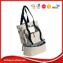 Wholesale beige women travel mesh beach hand bag