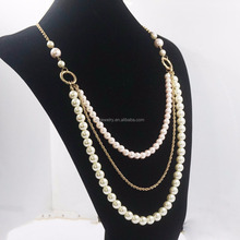 2017 latest design beads gold freshwater pearl necklace models