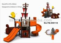 Pirate ship theme, outdoor playground with spiral slide