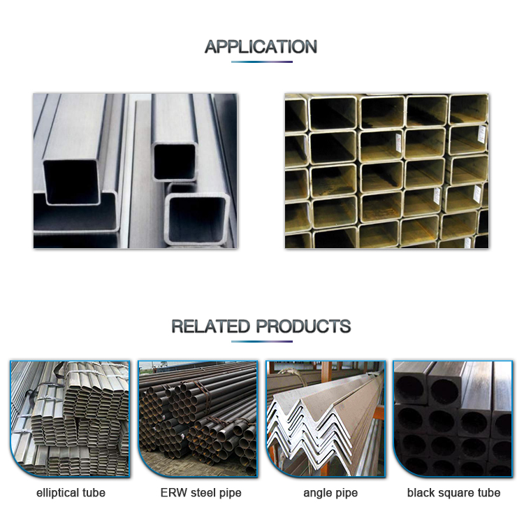 Customized supplier galvanized square rectangular tube steel hollow sections