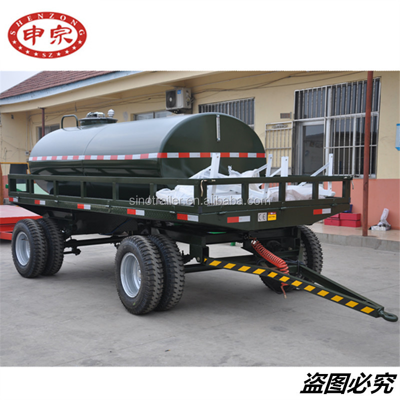 Liquid Transport Steel Tank Trailer 2 Axle Water Bowser With Turntable Drawbar