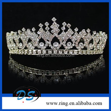 Wedding Shiny Silver Tone Loyal Crystal Tiara Crown With Combs