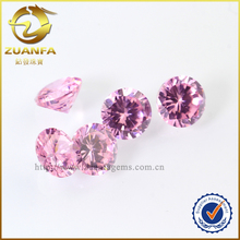 pink color man made diamonds round shape low price zirconia stone cz gem stone for fashion jewelry
