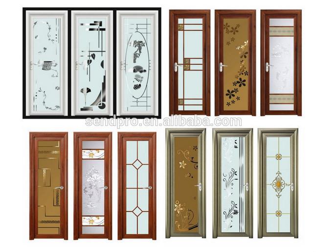 Standard size aluminum frame frosted glass toilet door for Aluminium bathroom door designs