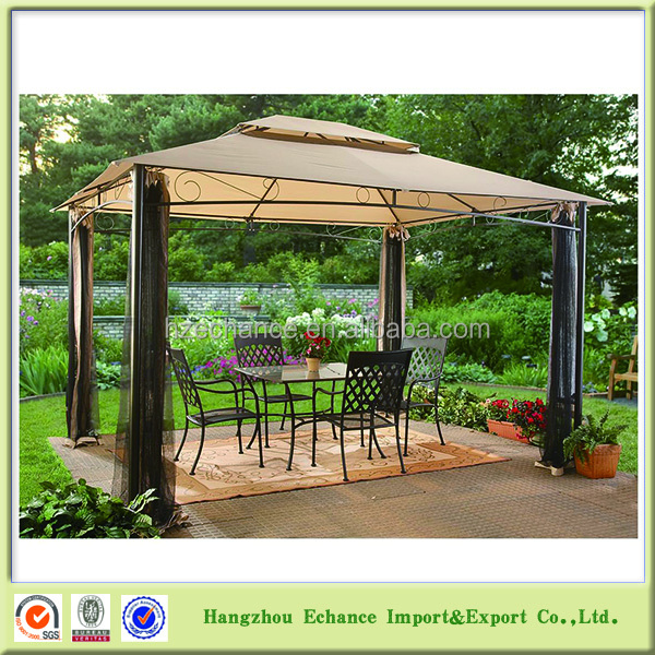 3X4M Large size Chinese outdoor gazebo with mesh netting walls for garden leisure time-F4512