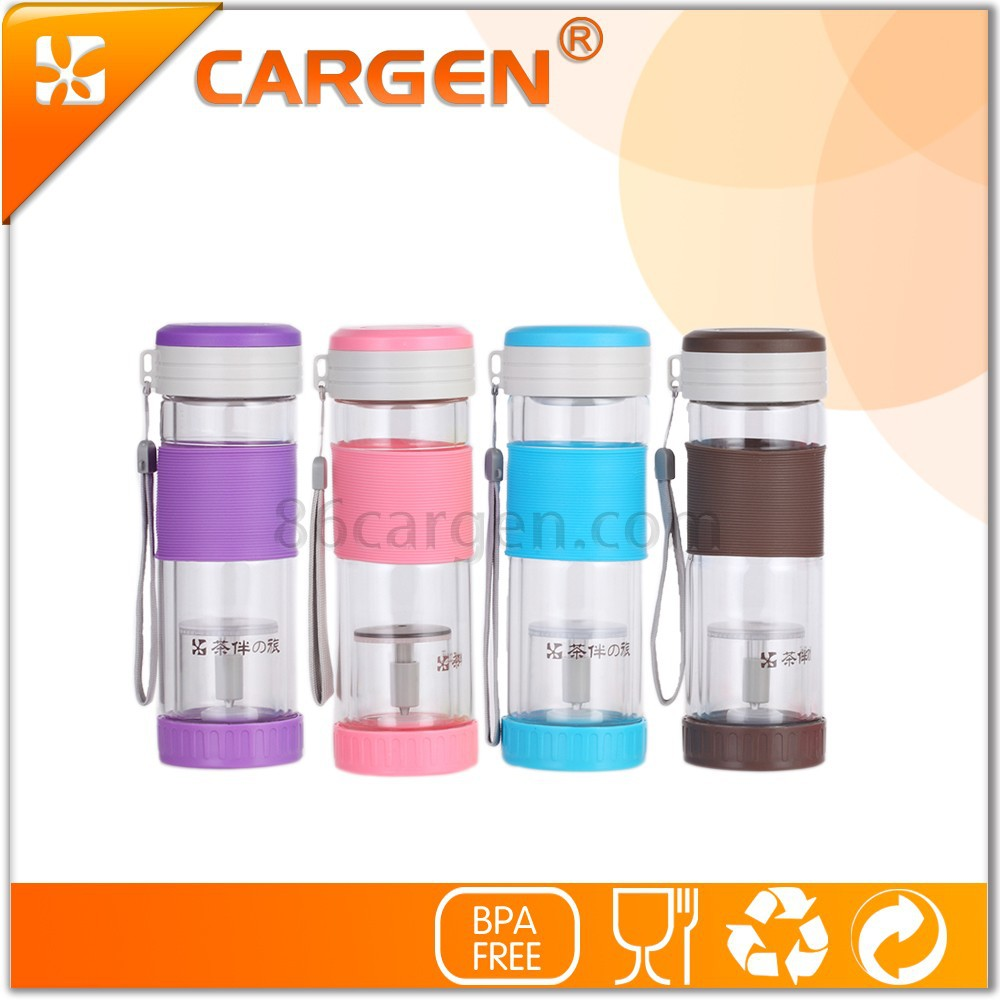 High tech separation of tea double wall glass water bottle with filter