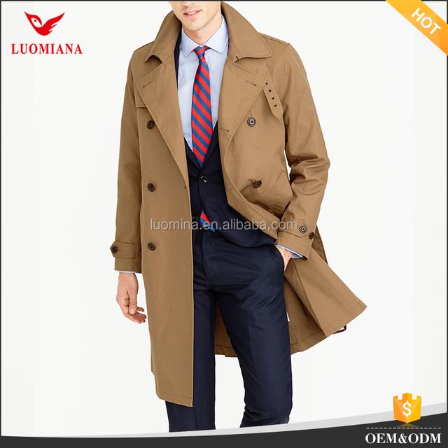 Wholesale men spring fall windbreaker long length trench coat