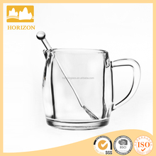 Glass milk cup creamer with spoon