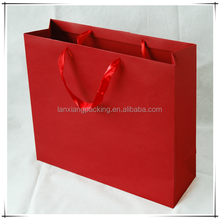 Absolute Advantage Red Decent Paper Bag,Top Grade Coated Art Paper Shopping Bag