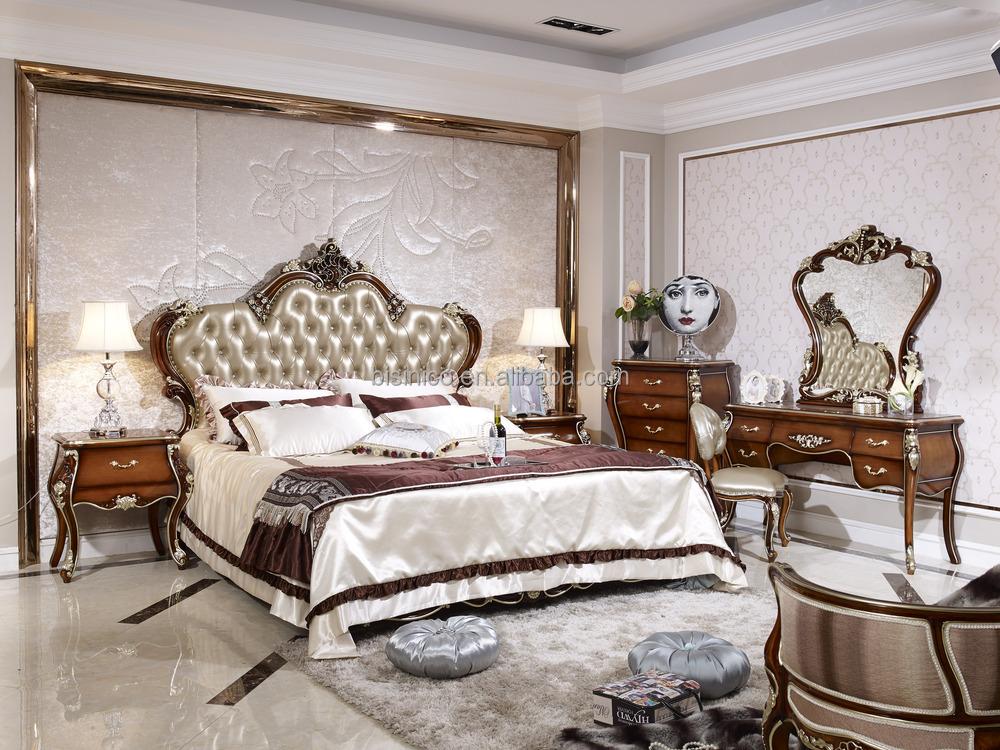 style solid wood bedroom furniture set antique wooden bed room set