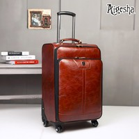 Wholesale customized pu travel luggage with trolley