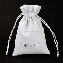 Wholesale luxury logo printed custom drawstring leather jewelry pouch/bag (20150730J88)