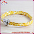 lemon yellow unisex crystal flashy wholesale cheap leather bracelet